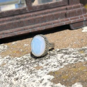 Jewelry - Opalite Fire Faceted Sterling Silver Ring Sz 7